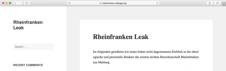 #rheinfrankenleak: Ein Blog macht interne Dokumente der Burschenschaft Rheinfranken öffentlich